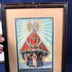 Arte: CROMOLITOGRAFIA DORADA TROQUELADA NUESTRA SEÑORA DE LA MONTAÑA ANGEL ANGELES PPIO S XX 35X26CMS. Lote 128437415