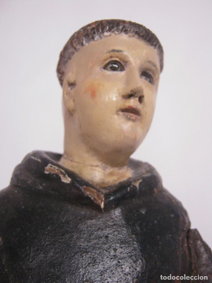 48 CM !! S.XVIII - TALLA DE MADERA RELIGIOSA - SANTO BEATO - OJOS DE CRISTAL - CUZQUEÑA (Arte - Arte Religioso - Escultura)