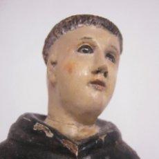Arte: 48 CM !! S.XVIII - TALLA DE MADERA RELIGIOSA - SANTO BEATO - OJOS DE CRISTAL. Lote 164924474