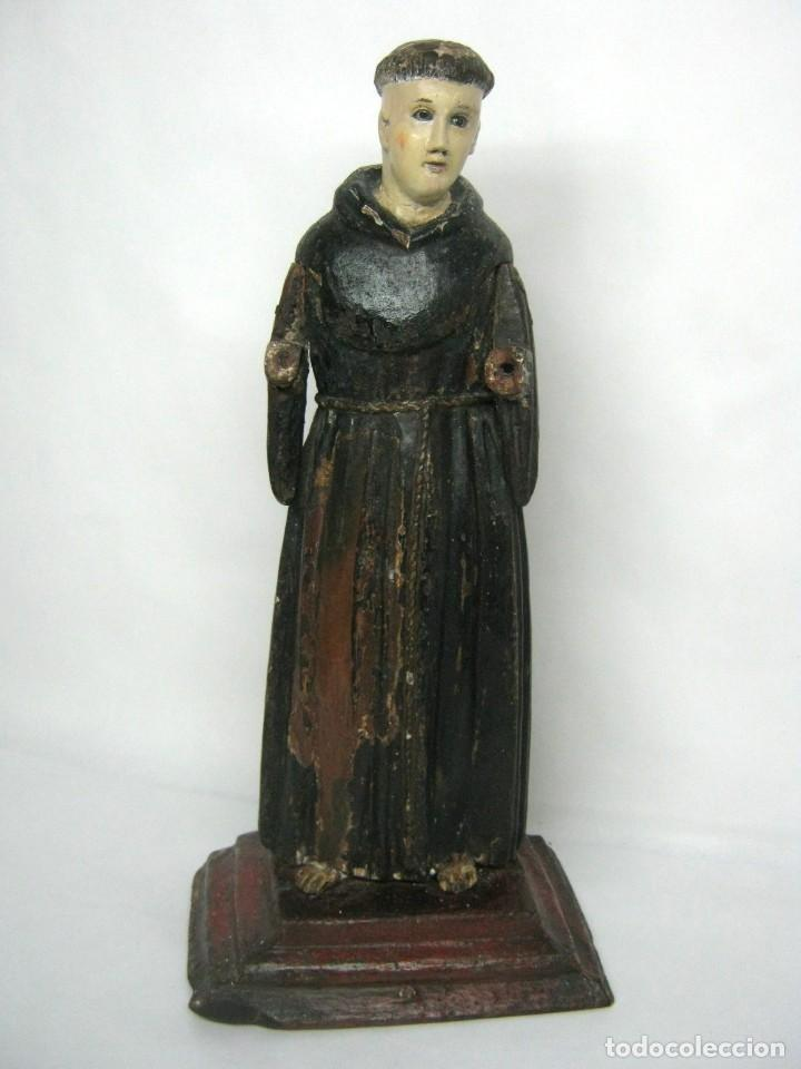Arte: 48 cm !! S.XVIII - Talla de madera religiosa - Santo beato - ojos de cristal - cuzqueña - Foto 2 - 164924474