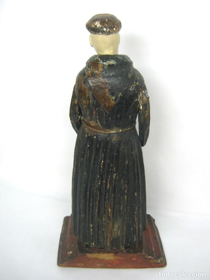 Arte: 48 cm !! S.XVIII - Talla de madera religiosa - Santo beato - ojos de cristal - cuzqueña - Foto 4 - 164924474