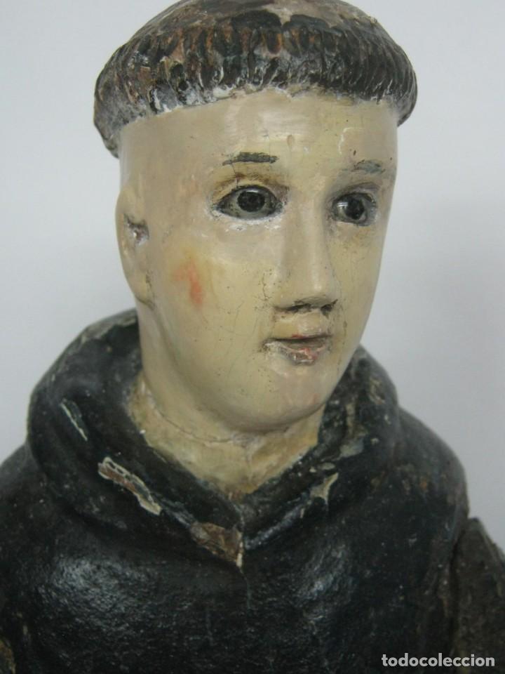 Arte: 48 cm !! S.XVIII - Talla de madera religiosa - Santo beato - ojos de cristal - cuzqueña - Foto 6 - 164924474
