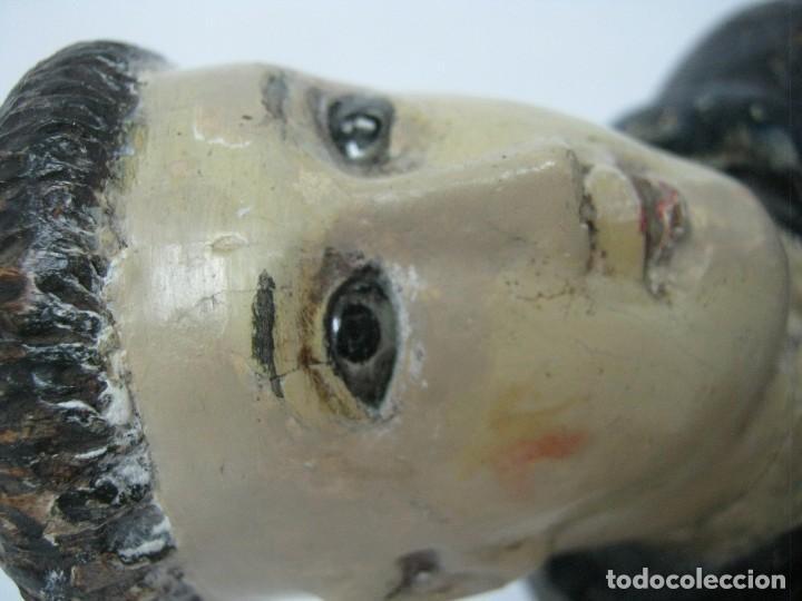Arte: 48 cm !! S.XVIII - Talla de madera religiosa - Santo beato - ojos de cristal - cuzqueña - Foto 7 - 164924474