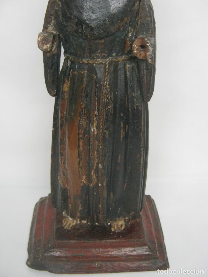 Arte: 48 cm !! S.XVIII - Talla de madera religiosa - Santo beato - ojos de cristal - cuzqueña - Foto 8 - 164924474