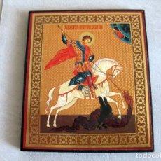 Arte: ICONO RUSO PEGADO SOBRE TABLA 11,5 X 13,5 CMS. SELLADO EN TRASERA. Lote 128502787
