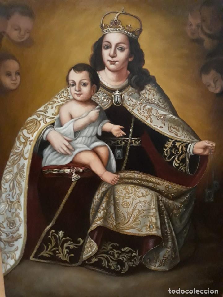 VIRGEN DEL CARMEN. LIENZO 92X73. MARCO DE REGALO. FIRMADO. (Arte - Arte Religioso - Pintura Religiosa - Oleo)