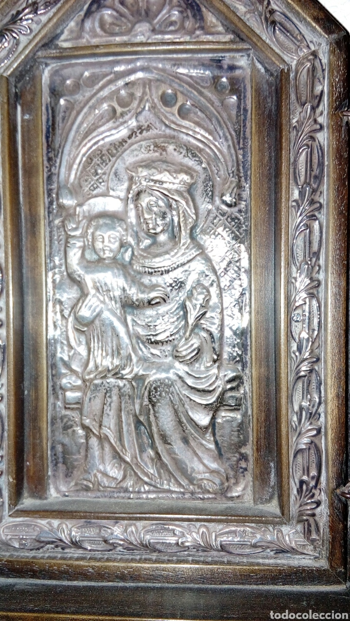 Arte: Tríptico en plata de ley y madera de nogal - Foto 2 - 128664926