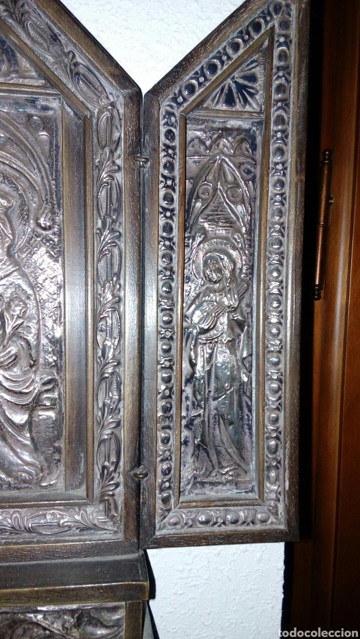 Arte: Tríptico en plata de ley y madera de nogal - Foto 3 - 128664926