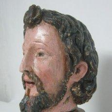Arte: S.XVII XVIII CABEZA DE SANTO - TALLA DE MADERA POLICROMADA - TAMAÑO. Lote 128669039