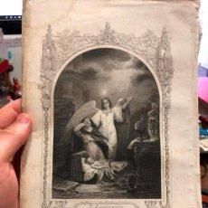 Arte: ANTIGUO GRABADO SANTA MONICA CONFIANDO EN DIOS QUE SALVAVA SU HIJO - MEDIDA 26X17 CM - RELIGIOSO. Lote 128696367