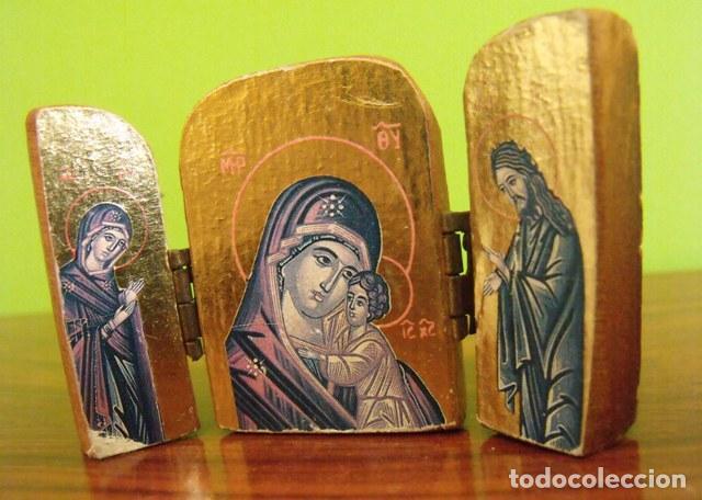TRIPTICO MADERA VIRGEN MARÍA Y NIÑO JESÚS (Arte - Arte Religioso - Trípticos)