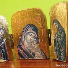 Arte: TRIPTICO MADERA VIRGEN MARÍA Y NIÑO JESÚS. Lote 128804419