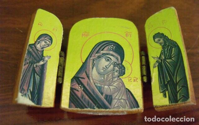 Arte: Triptico Madera Virgen María y Niño Jesús - Foto 3 - 128804419