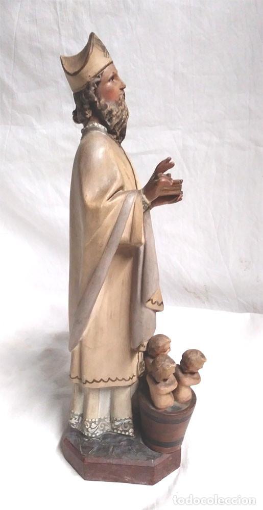 Arte: San Nicolás de Bari años 50 sello Olot, ojos cristal, estuco policromado. Med. 32 cm - Foto 2 - 128843607