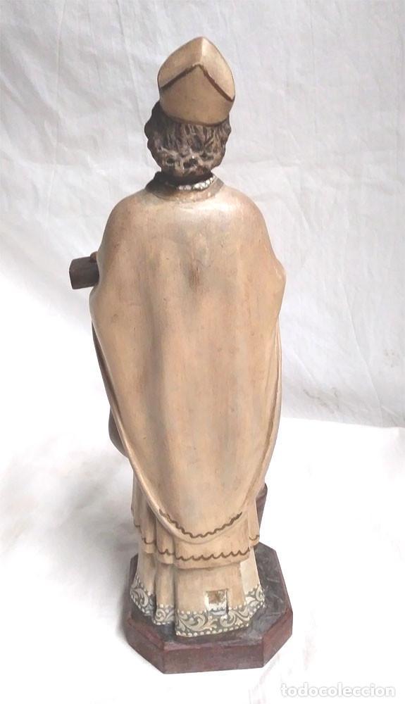 Arte: San Nicolás de Bari años 50 sello Olot, ojos cristal, estuco policromado. Med. 32 cm - Foto 3 - 128843607