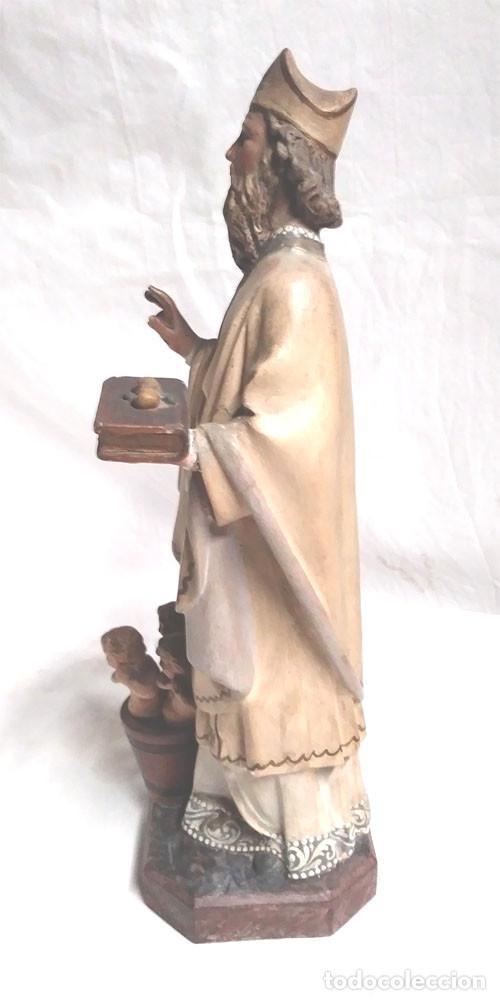Arte: San Nicolás de Bari años 50 sello Olot, ojos cristal, estuco policromado. Med. 32 cm - Foto 4 - 128843607