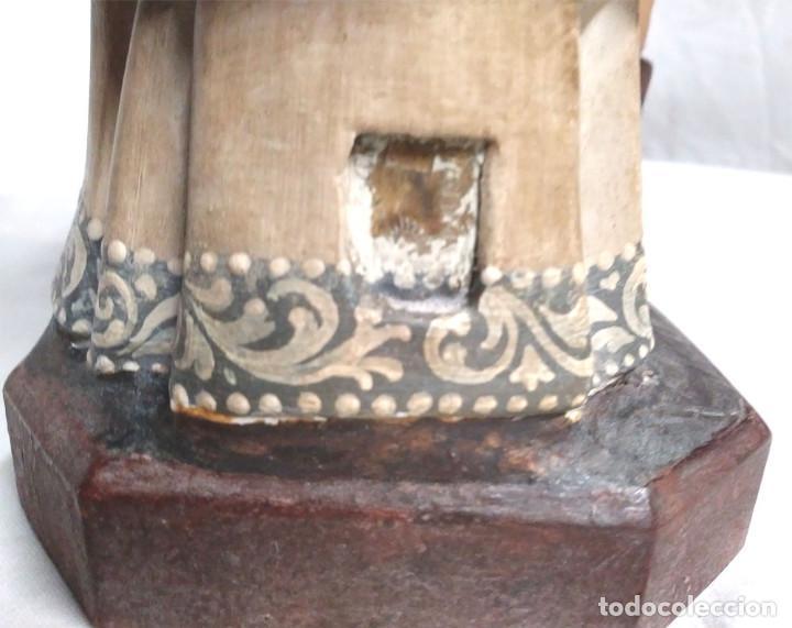 Arte: San Nicolás de Bari años 50 sello Olot, ojos cristal, estuco policromado. Med. 32 cm - Foto 5 - 128843607
