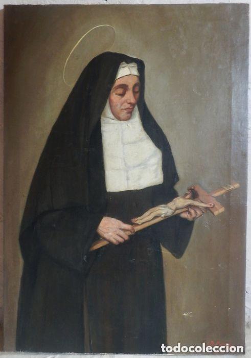 Arte: Benito Benet Mercade Fábrega (1821-1897) - Santa Rita de Casia - Óleo sobre tela - Foto 2 - 128884035