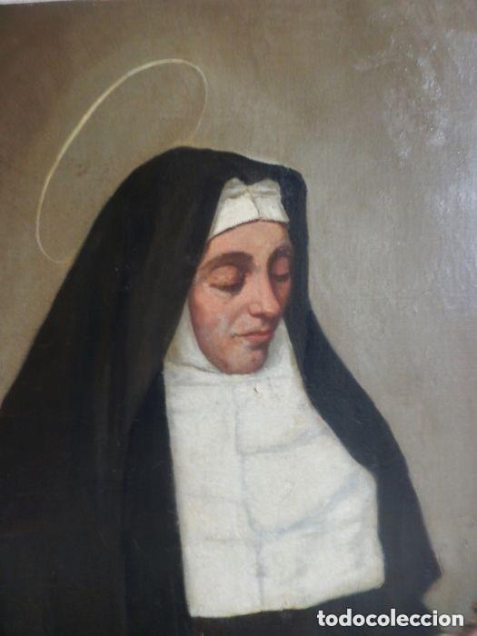 Arte: Benito Benet Mercade Fábrega (1821-1897) - Santa Rita de Casia - Óleo sobre tela - Foto 3 - 128884035