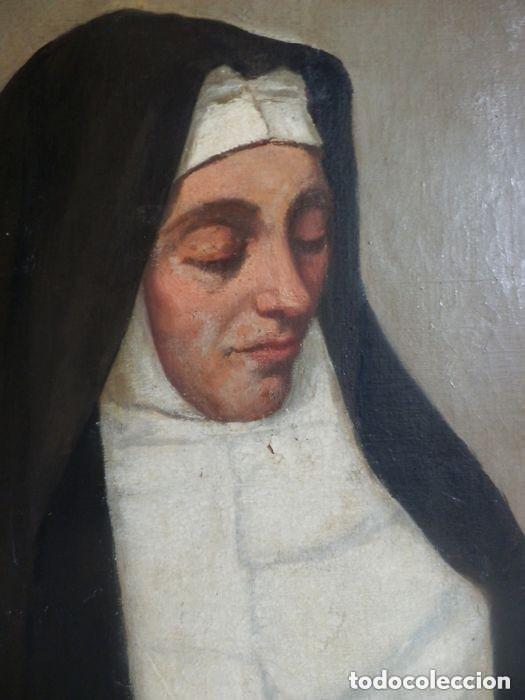 Arte: Benito Benet Mercade Fábrega (1821-1897) - Santa Rita de Casia - Óleo sobre tela - Foto 5 - 128884035