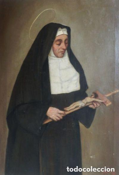 Arte: Benito Benet Mercade Fábrega (1821-1897) - Santa Rita de Casia - Óleo sobre tela - Foto 16 - 128884035