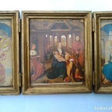 Arte: CUADRO TRIPTICO CON IMÁGENES RELIGIOSAS NATIVIDAD. Lote 128925987