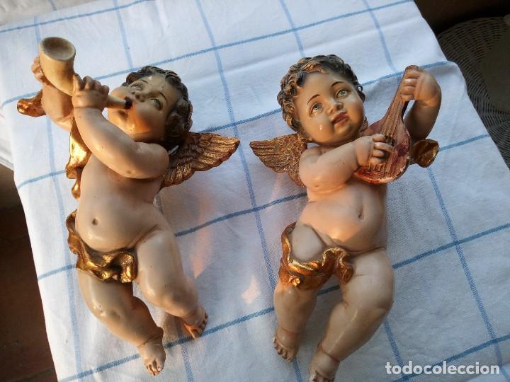 ANTIGUOS ÁNGELES O QUERUBINES MÚSICOS. POLICROMADOS. (Arte - Arte Religioso - Escultura)