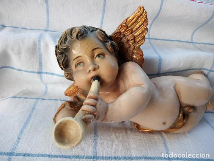 Arte: Antiguos ángeles o querubines músicos. policromados. - Foto 4 - 136449038