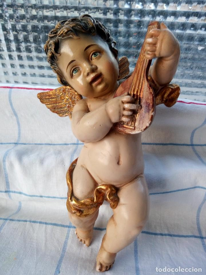 Arte: Antiguos ángeles o querubines músicos. policromados. - Foto 8 - 136449038