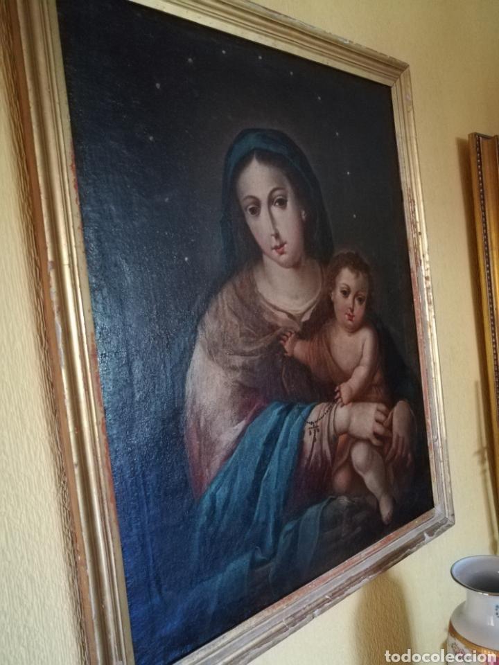VIRGEN DE ROSARIO CON NIÑO, SIGLO XVIII. (Arte - Arte Religioso - Pintura Religiosa - Oleo)