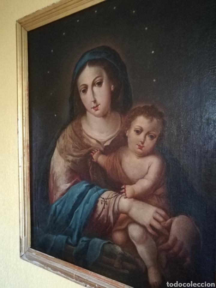 Arte: Virgen de Rosario con niño, siglo XVIII. - Foto 3 - 129006199