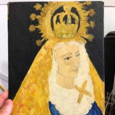 Arte: ACUARELA SOBRE TABLA ANTIGUA VIRGEN DE LA CARIDAD - SEMANA SANTA DE CADIZ - MEDIDA 32X21 CM. Lote 129095019