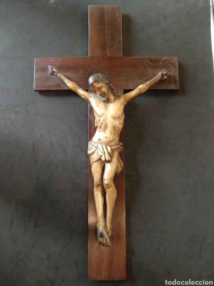Arte: Bonito Cristo tallado de madera policromado - Foto 2 - 129162651