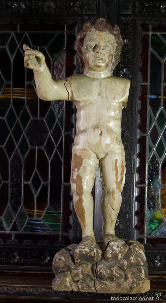 Arte: TALLA ESCULTURA RELIGIOSA SAN JUANITO SIGLO XVII - Foto 6 - 146977550