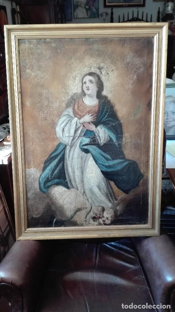VIRGEN INMACULADA S:XVII/XVIII,OLEO SOBRE LIENZO. (Arte - Arte Religioso - Pintura Religiosa - Oleo)