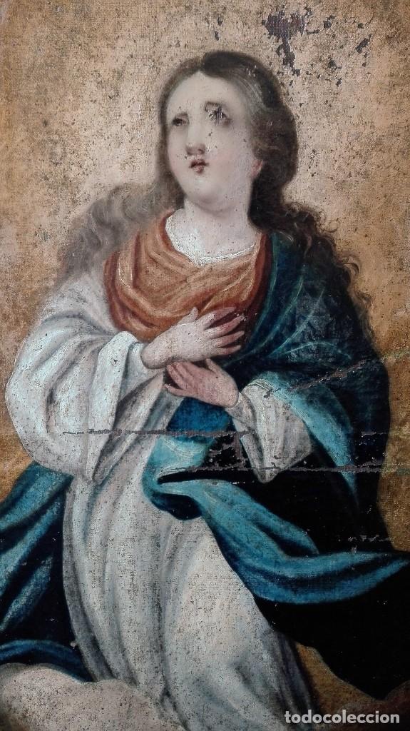Arte: Virgen Inmaculada s:XVII/XVIII,oleo sobre lienzo. - Foto 2 - 129308915