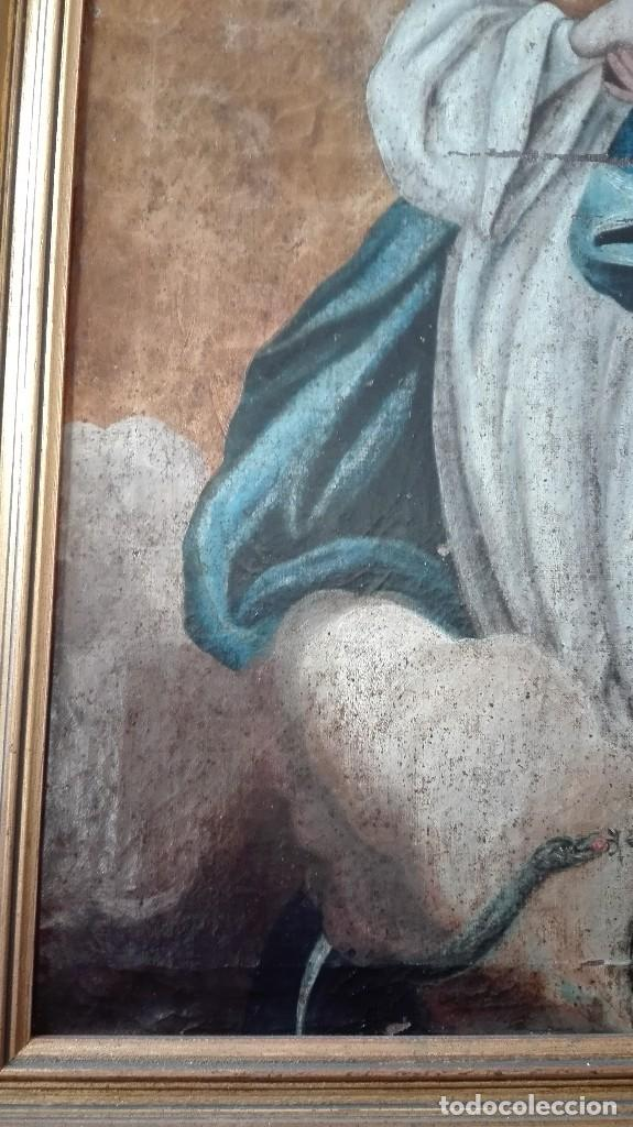 Arte: Virgen Inmaculada s:XVII/XVIII,oleo sobre lienzo. - Foto 4 - 129308915