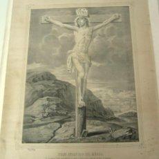 Arte: JESUS REDENTOR DEL MUNDO - GRAN LITOGRAFIA ANTIGUA MITJANA MALAGA. Lote 129326547