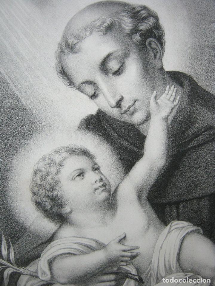 GRABADO LITOGRÁFICO - SAN ANTONIO DE PADUA - L. TURGIS - PARÍS - PP. S. XX (Arte - Arte Religioso - Grabados)