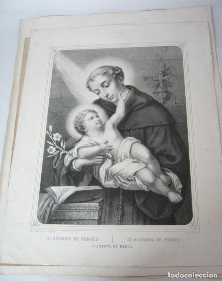 Arte: GRABADO LITOGRÁFICO - SAN ANTONIO DE PADUA - L. TURGIS - PARÍS - Pp. S. XX - Foto 2 - 129326667