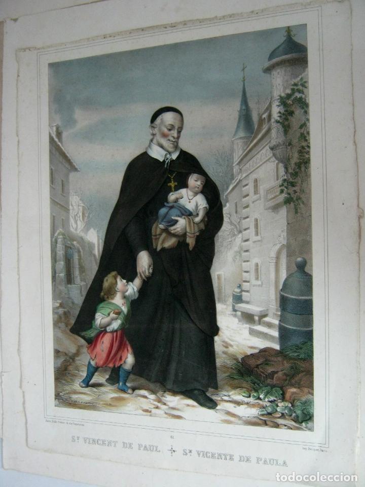 PRECIOSO GRABADO LITOGRAFICO BECQUET PARIS - SAN VICENTE PAUL (Arte - Arte Religioso - Grabados)