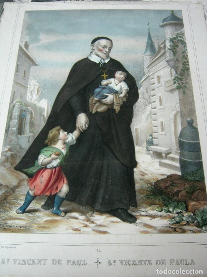 Arte: Precioso grabado litografico Becquet Paris - San Vicente Paul - Foto 2 - 129326947