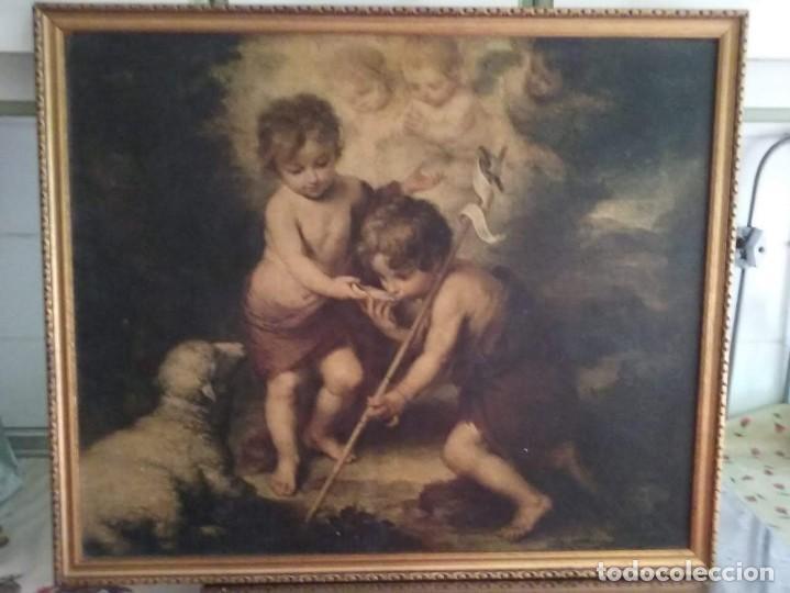 CUADRO ANTIGUO RELIGIOSO DE MURILLO-ES UNA SERIGRAFÍA- LOS NIÑOS DE LA CONCHA (Arte - Arte Religioso - Pintura Religiosa - Oleo)
