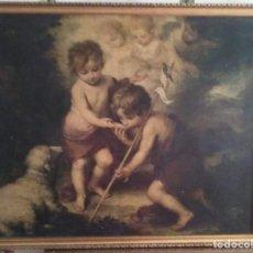 Arte: CUADRO ANTIGUO RELIGIOSO DE MURILLO-ES UNA SERIGRAFÍA- LOS NIÑOS DE LA CONCHA. Lote 129432003