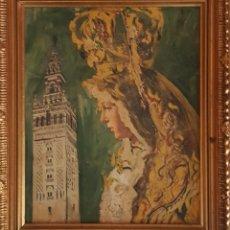 Arte: LA VIRGEN MACARENA Y LA GIRALDA. AÑOS 60 SERIGRAFÍA Y SOBRE ELLA COLOREADA AL ÓLEO SOBRE PANEL. 28X2. Lote 129513655