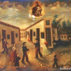 Arte: ESCUELA SEVILLANA. (SIGLO XIX, C. 1840). EXVOTO CON INTERVENCIÓN DE LA VIRGEN DEL CARMEN.. Lote 129513827