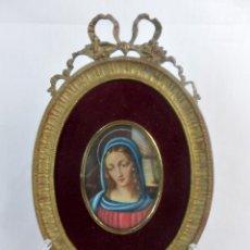 Arte: ESCUELA FRANCESA S XIX MINIATURA PINTADA SOBRE CELULOIDE VIRGEN MARIA EN MARCO DE BRONCE. Lote 147378902