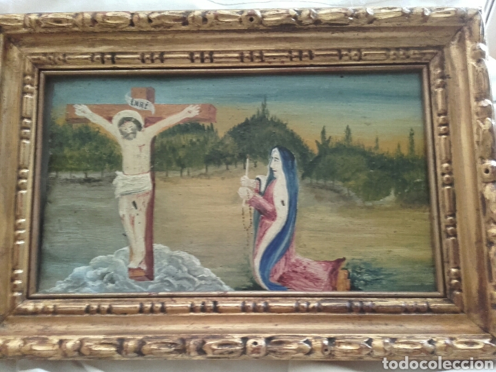 EXVOTO POPULAR. PINTURA ÓLEO/ COBRE. MEDIDAS 31 X 19 CM. CON MARCO 37 X 19 CM. (Arte - Arte Religioso - Pintura Religiosa - Oleo)