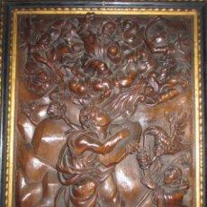 Arte: VISION DE SAN JUAN EN PATMOS, Y UN DONANTE. EXTRAORDINARIO RELIEVE TALLADO DEL S, XVII. Lote 130036711