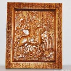 Arte: ICONO SANT JORDI .HECHO A MANO .MATERIAL-ROBLE. Lote 128539811